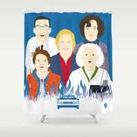 movies Shower Curtains featuring 1985 (Faces & Movies) by Alain Bossuyt