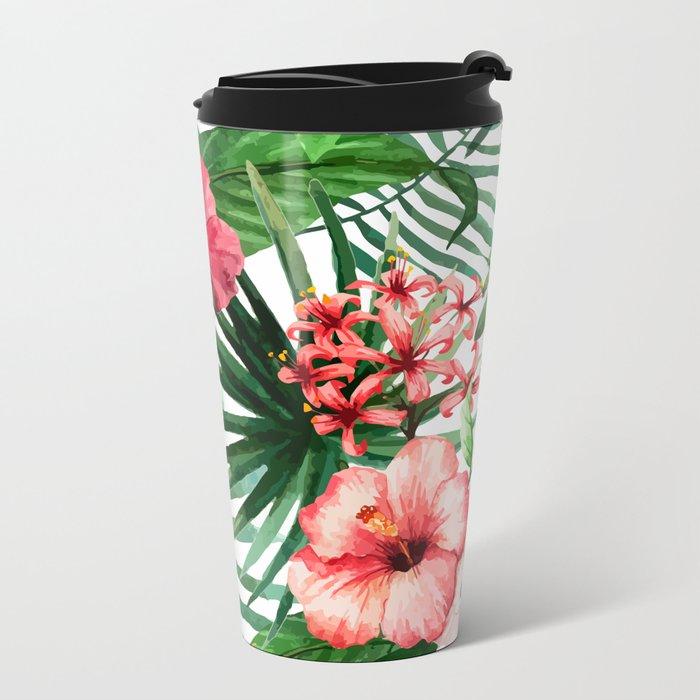FLOWERS WATERCOLOR 8 Metal Travel Mug
