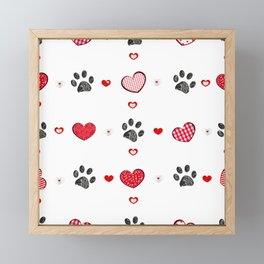 Retro heart with doodle black paw prints. Valentine's Day, Merry Christmas greeting card design element. Fabric design seamless pattern Framed Mini Art Print
