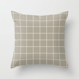 Gray Grey Alabaster Grid Throw Pillow