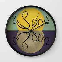 sun and moon Wall Clocks featuring ambigram sun and moon  by gazonula