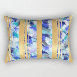 Bethany - Blue Watercolor and Gold Foil Rectangular Pillow