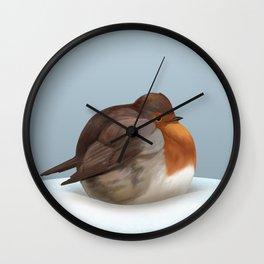 Satisfied robin Wall Clock