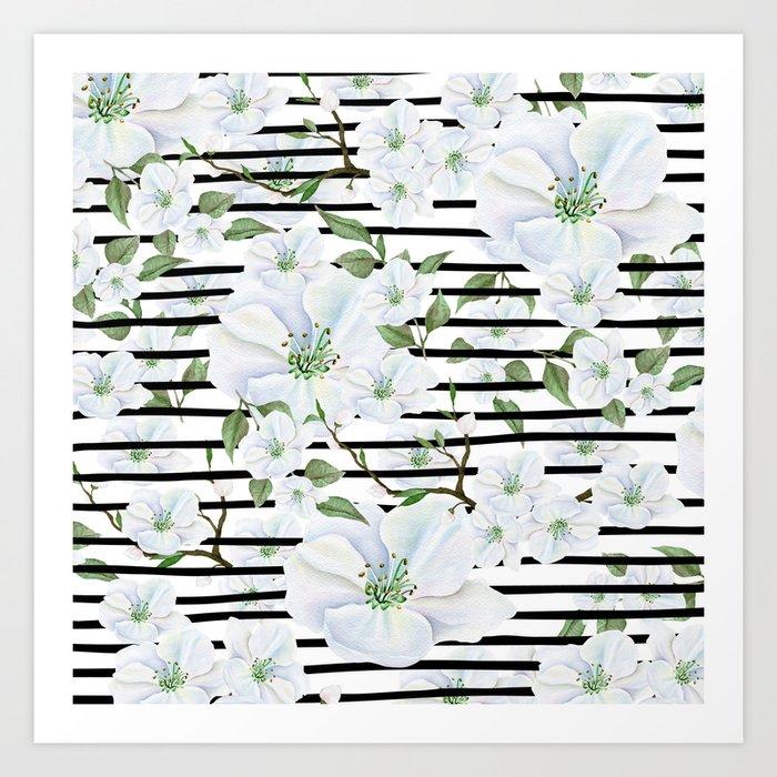 Modern Black White Stripes Watercolor Pink Floral Kunstdrucke