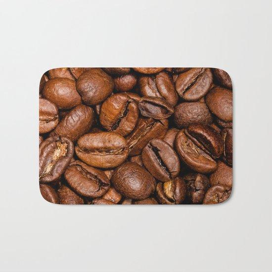 Shiny brown coffee beans Bath Mat