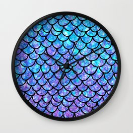 Purples & Blues Mermaid scales Wall Clock