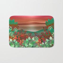 """Naif tropical colorful landscape"" Bath Mat"
