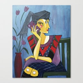 Say What Picasso Style Woman on Phone Canvas Print