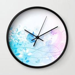 Pastel Blue & Pink Flowers & Butterflies Wall Clock