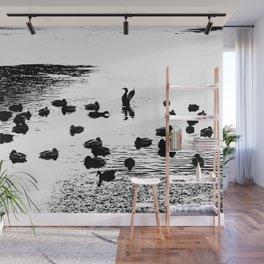 Mallard Ducks In A Lake In Black And White Wall Mural