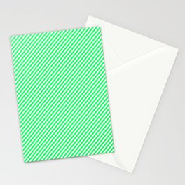 Mini Lanai Lime Green - Acid Green and White Candy Cane Stripe Stationery Cards