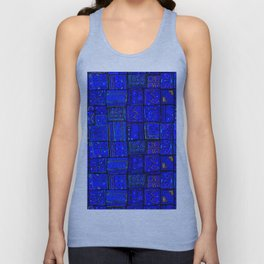 N17 - Calm Indigo Blue Boho Traditional Moroccan Artwork Unisex Tank Top