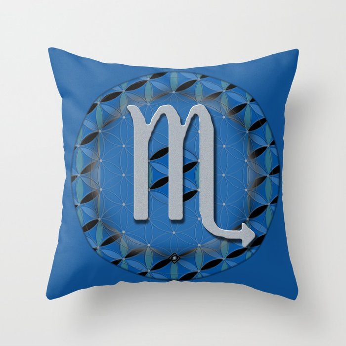 Flower of Life SCORPIO Astrology Design Throw Pillow