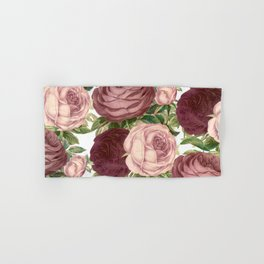 Vintage country chic burgundy pink roses flowers Hand & Bath Towel