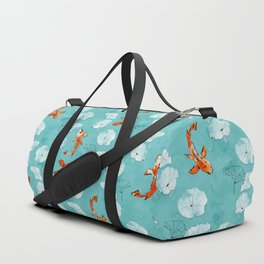 Waterlily koi in turquoise Duffle Bag