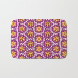White and gold lace on plum Bath Mat
