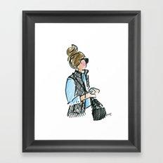 Top Knot. Tweed Vest. Framed Art Print