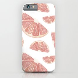 Fruit print. Grapefruits. Bright summer pattern. Watercolor grapefruit slices on a white background iPhone Case