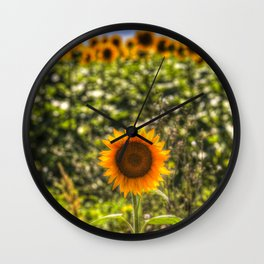 The Lonesome Sunflower Wall Clock