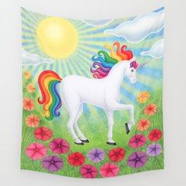 daydreamer (rainbow unicorn), sunshine, petunias Wall Tapestry