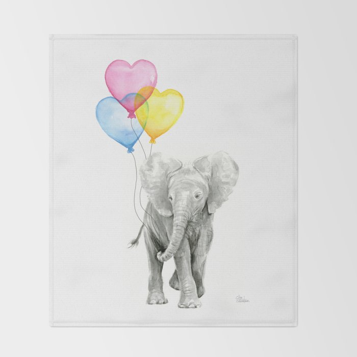 Elephant Watercolor With Balloons Rainbow Hearts Baby Animal Nursery Prints Throw Blanket