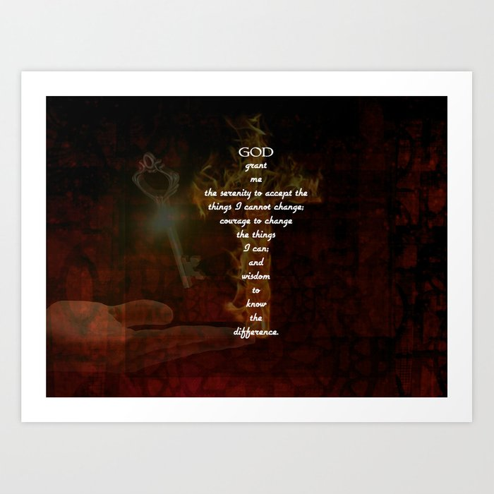 Serenity Prayer Inspirational Quote With Beautiful Christian Art Art Print  by jesussavior