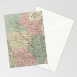 Vintage Midwestern United States Railroad Map Stationery Cards