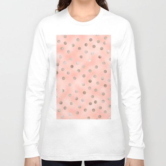 Rosy silver polka dots Long Sleeve T-shirt