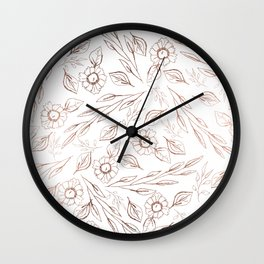Modern hand drawn white rose gold floral illustration Wall Clock