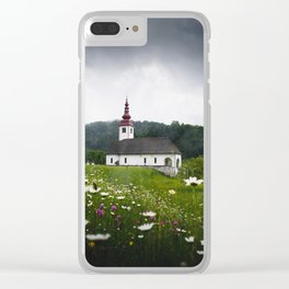 Church in a Meadow Scenic Landscape Clear iPhone Case