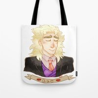 jjba Tote Bags featuring SPEED by The SkeletEgg Foundation