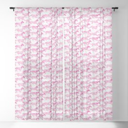 Running Watercolor Horses Pattern - Pink Sheer Curtain