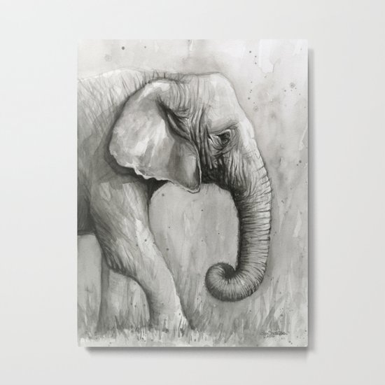 Elephant Black and White Watercolor Animals Metal Print
