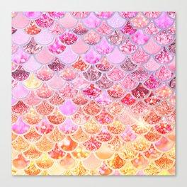 Rosegold & Gold Trendy Glitter Mermaid Scales Canvas Print