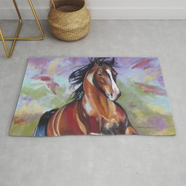 Contemporary Stallion Horse Painting Rug