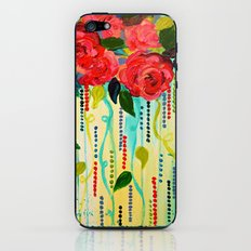 ROSE RAGE Stunning Summer Floral Abstract Flower Bouquet Feminine Pink Turquoise Lime Nature Art iPhone & iPod Skin