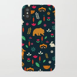 Cute little animals among flowers iPhone Case