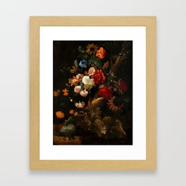 "Ernst Stuven ""Floral still life with Yellow-Bellied Toad and snake"" Framed Art Print"