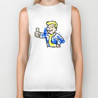 fallout Biker Tanks featuring Watercolour Fallout by Curious Nonsense.