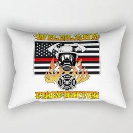 Wildland Firefighter Hero Thin Red Line Smokejumper Gift Rectangular Pillow