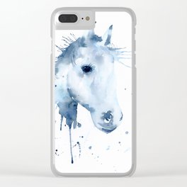 Watercolor Horse Portrait Abstract Paint Splatter Clear iPhone Case