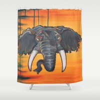 dumbo Shower Curtains featuring Not so Dumbo (Elephant) by Kai Monster
