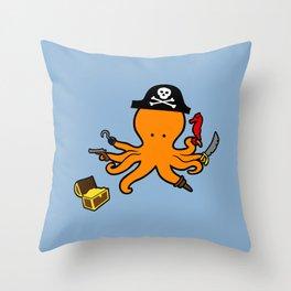 Octopus Pirate Throw Pillow