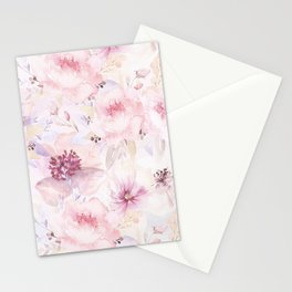 Pastel Summer Flower Watercolor Pattern Stationery Cards