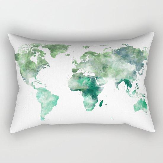 World Map Emerald Green Earth Rectangular Pillow
