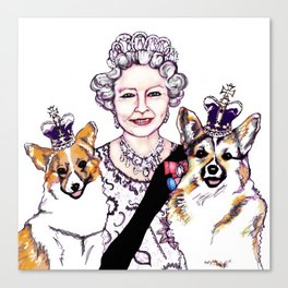 Queen - ie and her Corgis Canvas Print