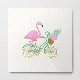 Tropical Flamingo Bike Metal Print