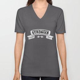 Stronger Every Day (dumbbell, black & white) Unisex V-Neck