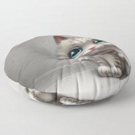 gray kitten Floor Pillow
