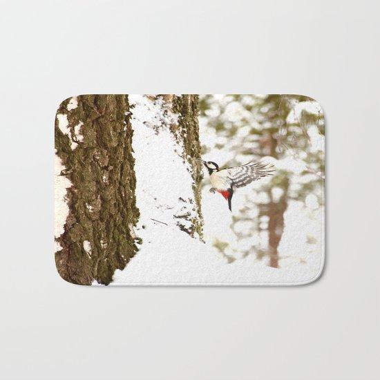 Woodpecker In Forest Bath Mat